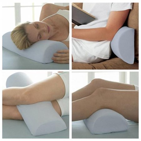 Image of Half Moon / Half Cylinder Neck Roll Pillow Best Wedge Cervical, Lumbar Support, Back and Knee, White