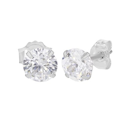 9318376f2 In Season Jewelry - 925 Sterling Silver Small Prong Set CZ Round Kids Baby Stud  Earrings 2mm - Walmart.com
