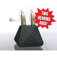 Hearing Assist Recharge | Rechargeable BTE Hearing Aid (Both Ears) | FDA Registered with Charging Case | TV Offer | Beige