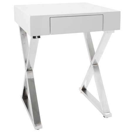 Luster Contemporary Side Table in White and Chrome by LumiSource
