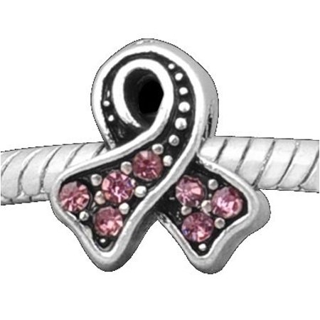 Light Rose Stones Breast Cancer Awareness Ribbon Charm Bead. Fits Troll, Zable, Baigi, Chamilia Charm Bracelets. - Breast Cancer Charms
