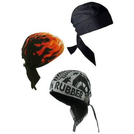 Doo Rag with SWEATBAND Skull Cap Do Bandana Du Wrap Helmet Liner 3 Pack Bundle: Black, Flame and Burn Rubber