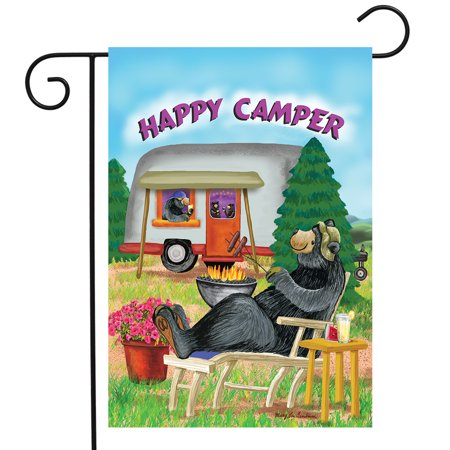 Happy Camper Summer Garden Flag Camping Bear Fire 12.5