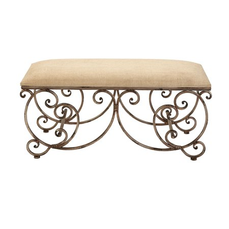 Decmode 18 X 40 Inch Traditional Metal Scrollwork Cushioned Bench, Beige