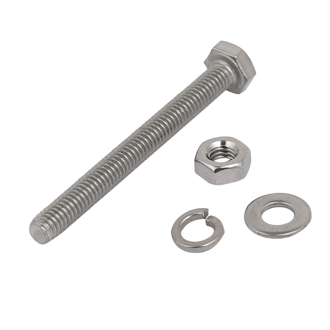 Unique Bargains 10pcs 304 Stainless Steel M4x40mm Hex Bolts w Nuts and Washers Assortment Kit - image 2 of 3
