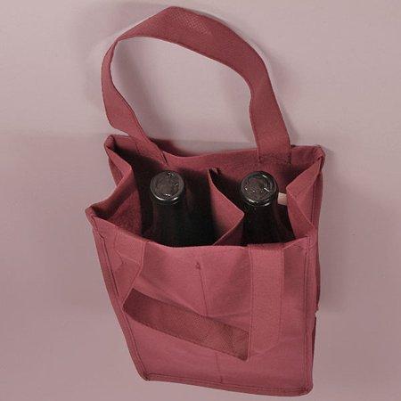 KraftyKlassics 10 pack Non-Woven Burgundy 2 Bottle Reuseable Wine Liquor Bottle Carry Bag, 7