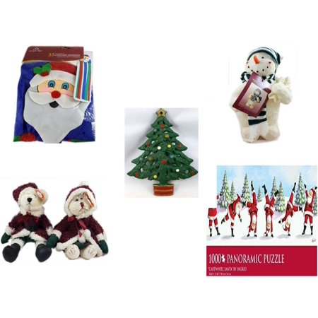 "Christmas Fun Gift Bundle [5 Piece] -  Time  Windsock Santa - Woodniks ""Finish It"" Snowman Resin Figure 8"" - Wrought Iron  Tree Trivet - Ty Attic Treasures Mr. & Mrs. Santa Bear  6"" - Ingrid ""Cartwh"