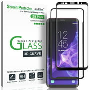 Galaxy S9 Plus Screen Protector Glass - amFilm Full Cover (3D Curved) Tempered Glass Screen Protector with Dot Matrix for Samsung Galaxy S9+ (Black)