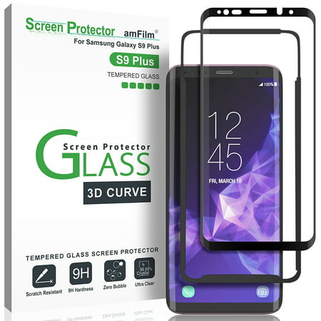 amFilm Galaxy S9 Plus Screen Protector, Full Cover (3D Curved) Tempered Glass with Dot Matrix for Samsung Galaxy S9 Plus (1 Pack, Black) - 3d Halloween Screensaver
