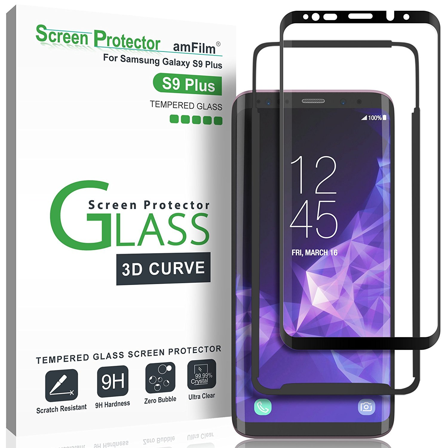 amFilm Galaxy S9 Plus Screen Protector, Full Cover (3D Curved) Tempered Glass with Dot Matrix for Samsung Galaxy S9 Plus (1 Pack, Black)