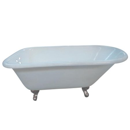 54 in. Aqua Eden Cast Iron Roll Top Clawfoot Tub with 3.37 in. Tub Wall Drillings, White & Satin Nickel