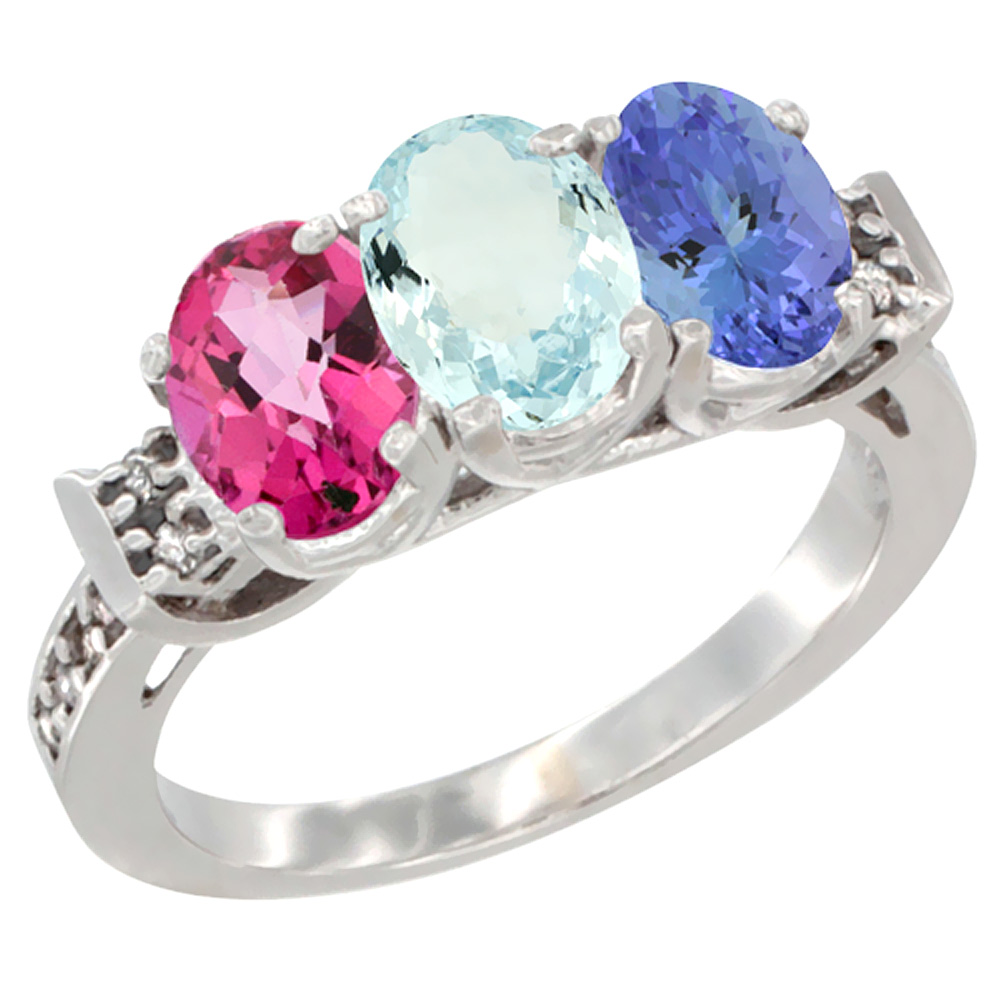 14K White Gold Natural Pink Topaz, Aquamarine & Tanzanite Ring 3-Stone 7x5 mm Oval Diamond Accent, sizes 5 10 by WorldJewels