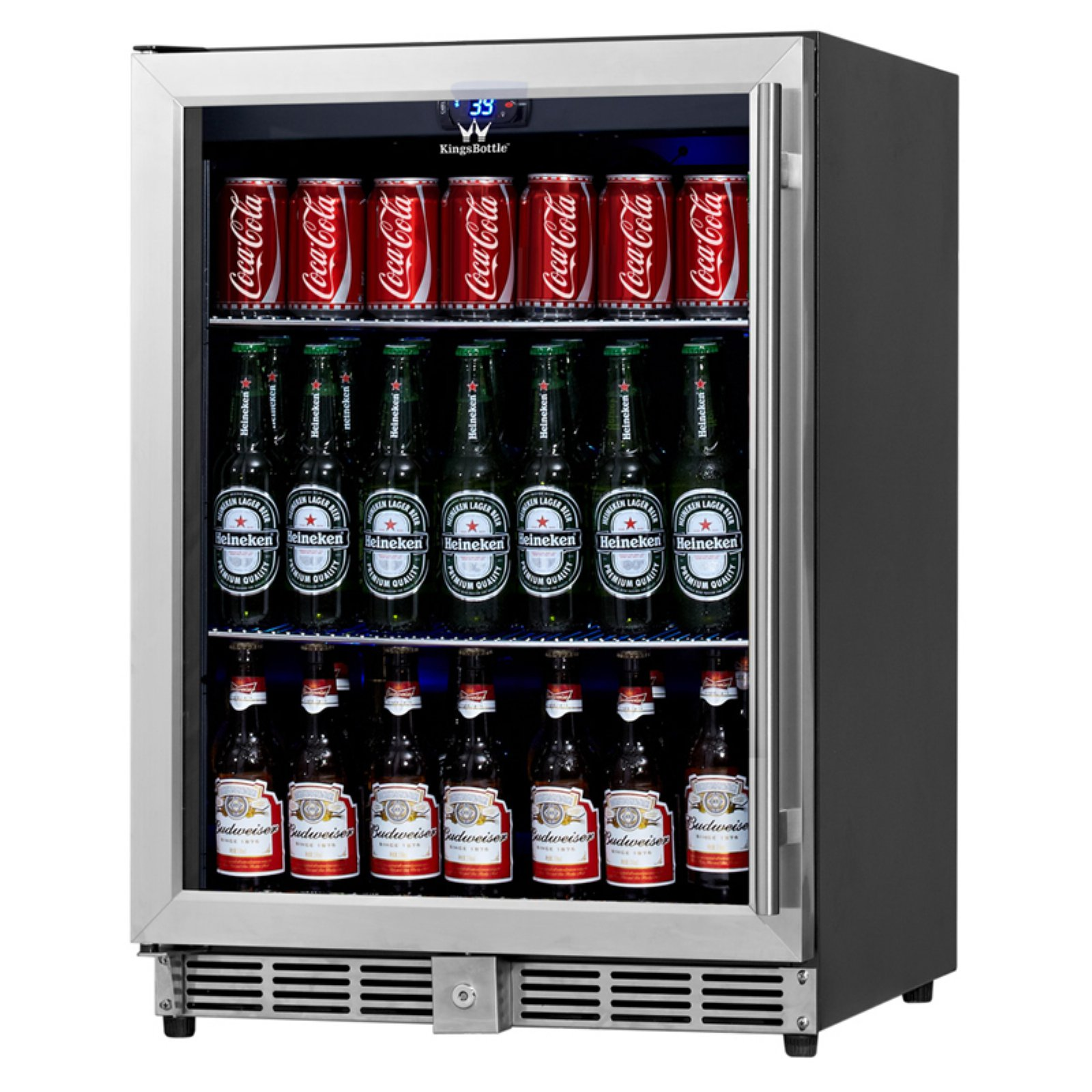 160-Can Beverage Fridge, Silver