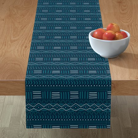 Table Runner African Mudcloth Teal White Modern Decor Blue Mud Cotton Sateen ()