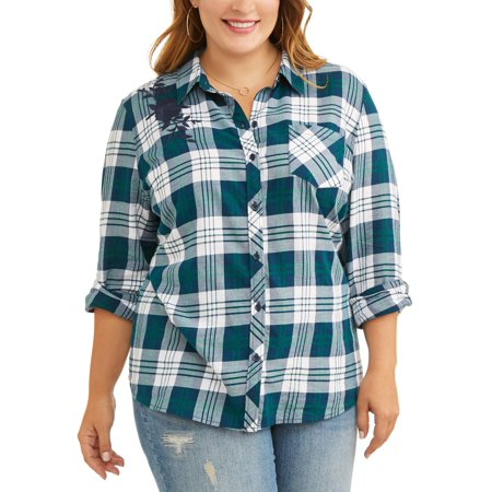 Sky Tops - Terra & Sky Women's Plus Button Up Embroidered Plaid Shirt