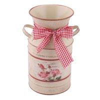 Household Desk Metal Bowknot Decor Flower Orchid Rose Holder Vase Basket Beige
