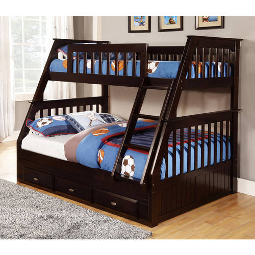 american furniture classics twin over full wood bunk bed with storage espresso
