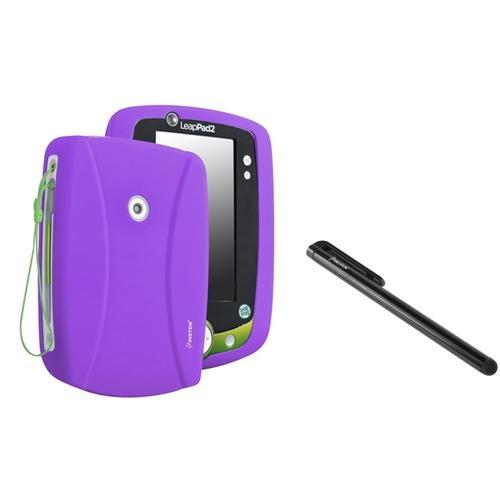 Insten Purple Rubber Silicone Skin Case+Black Stylus For LPF Leappad 2 Explorer