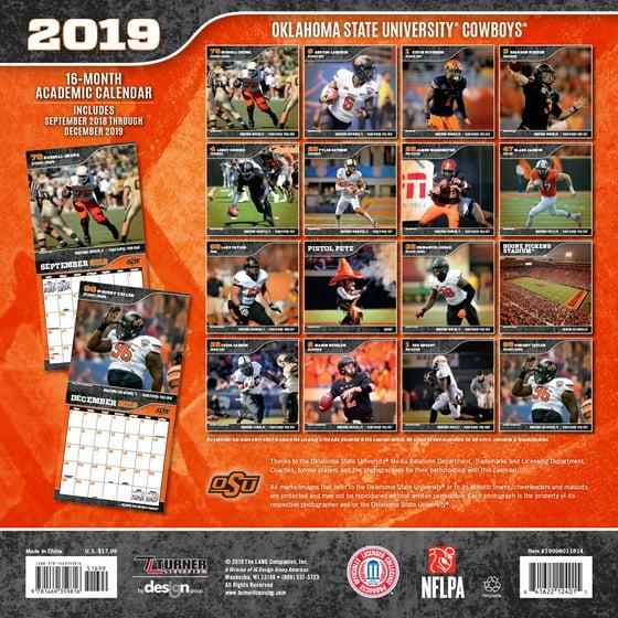 Oklahoma State Academic Calendar.2019 12x12 Team Wall Calendar Oklahoma State Cowboys