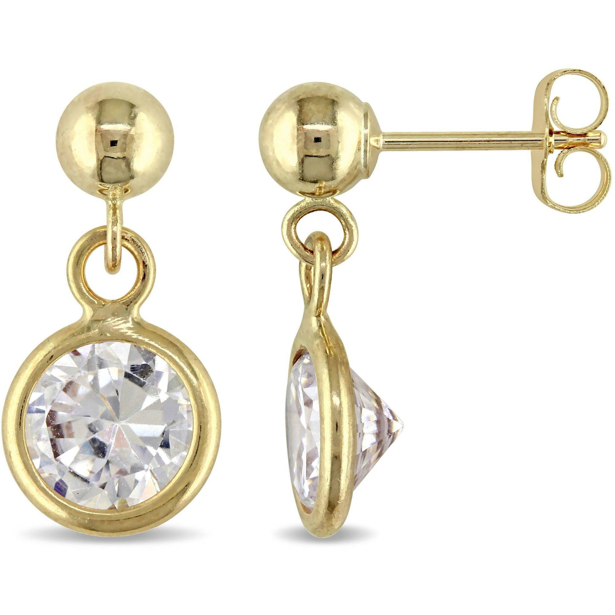 2-7/8 Carat T.G.W. CZ 10kt Yellow Gold Dangle Earrings