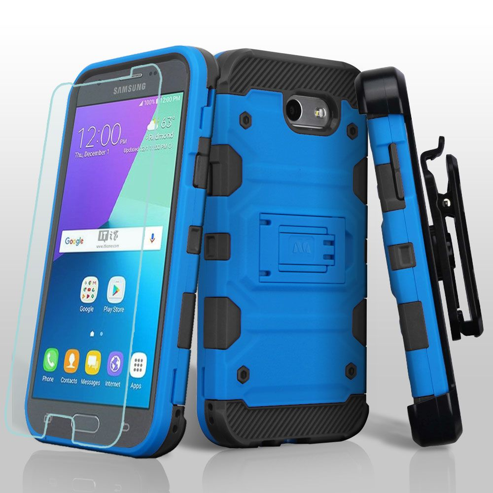 Samsung Galaxy Amp Prime 2 Case, Galaxy J3 2017 Case, Galaxy J3 Emerge Case, by Insten Storm Tank Hybrid Holster Case + Glass Protector For Samsung Galaxy Express Prime 2/J3 (2017) - Blue/Black