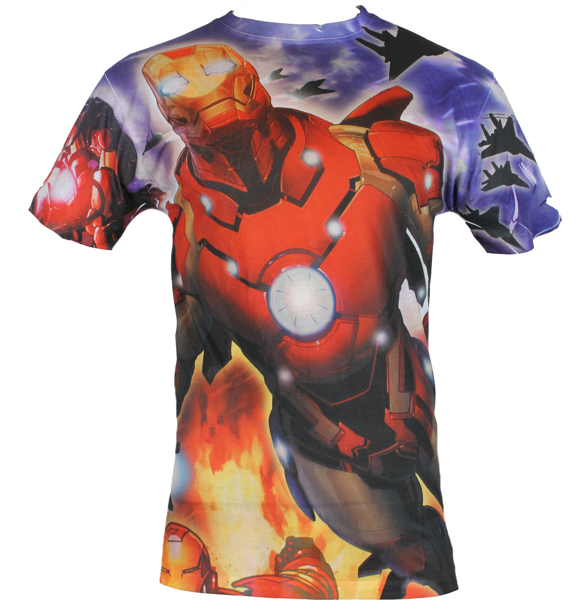 Iron Man (Marvel Comics)  Mens T-Shirt - Giant Allover Launching Attack Image