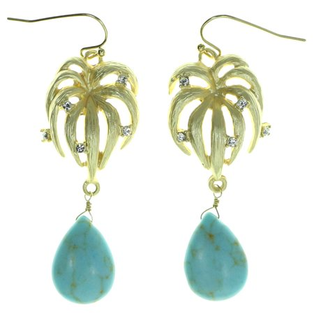 Drop Dangle Earrings With Blue Bead Accents Gold-Tone