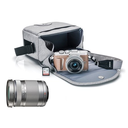 Olympus PEN E-PL9 Mirrorless Micro Four Thirds Digital Camera [Brown] + M.Zuiko Digital ED 14-42mm f/3.5-5.6 EZ Lens (Silver) + M.Zuiko Digital ED 40-150mm f/4.0-5.6 R Lens (Silver)