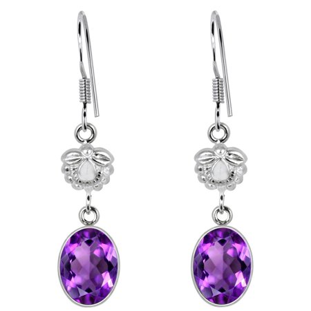 - Orchid Jewelry Mfg Inc 5.0 Carat Amethyst 925 Sterling Silver Dangle Hook Earrings