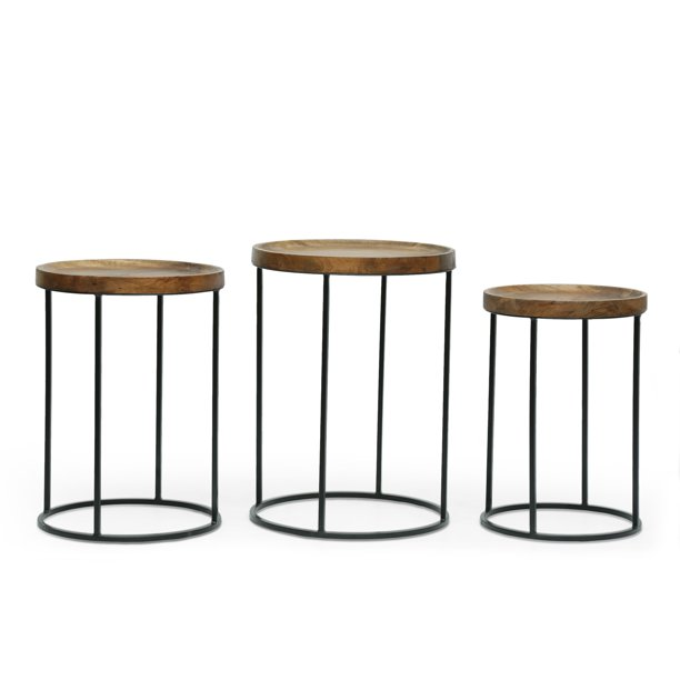 Noble House Croton Mango Wood Handcrafted Nested Side Tables (Set of 3), Natural and Black