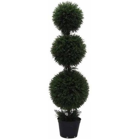 Vickerman 4' Artificial Triple Ball Green Cedar Topiary Potted in a Black Planters Pot, UV-Resistant