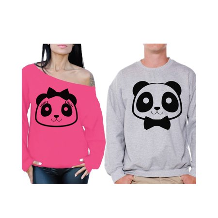 Awkward Styles Panda Sweatshirts for Couple Panda Couples Sweaters for Valentine's Day Cute Panda Bear Off the Shoulder Sweatshirt for Women Panda Sweater ...