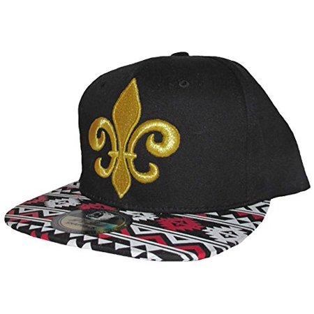 New Orleans Hat Snapback Fleur De Lis Flat Bill Black Cap Aztec Version