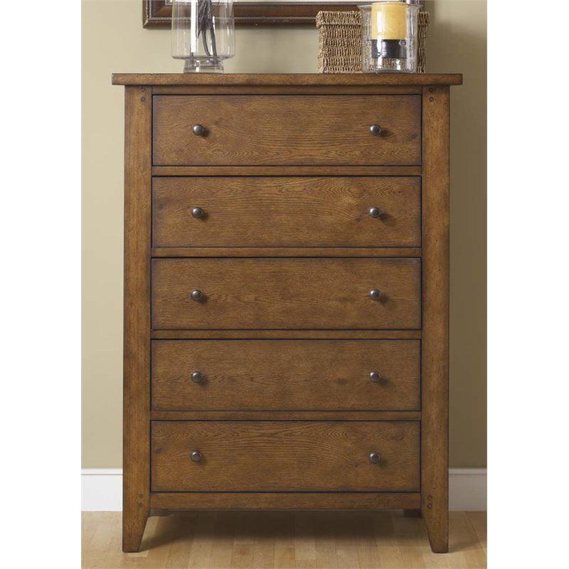 Liberty Furniture Hearthstone 5 Drawer Chest in Rustic Oak