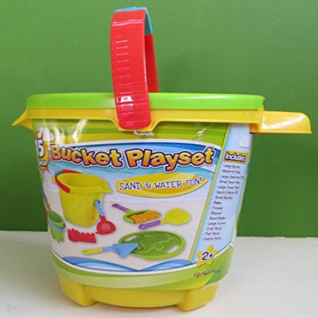 Yellow Bucket Pail Sand & Water Fun 15 Pieces Green Seahorse Sifter Lid Molds Tools Beach Sandbox NEW