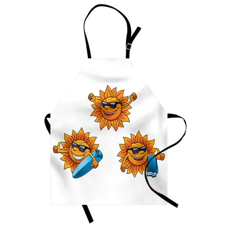 Cartoon Apron Surf Sun Characters Wearing Shades and Surfboards Fun Hippie Summer Kids Design, Unisex Kitchen Bib Apron with Adjustable Neck for Cooking Baking Gardening, Orange White, by Ambesonne