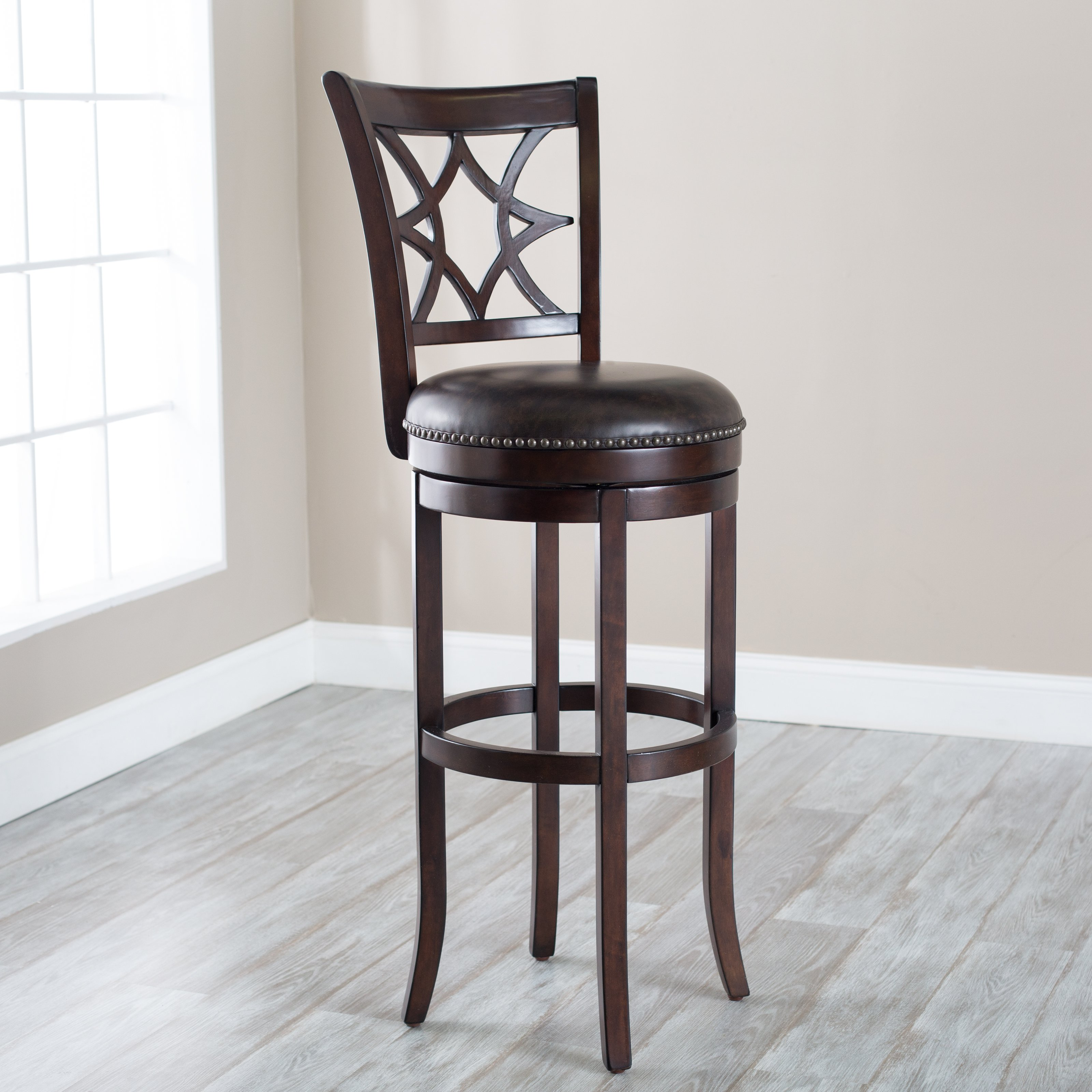 Belham Living Oliver Extra Tall Swivel Kitchen Barstool with Nailheads