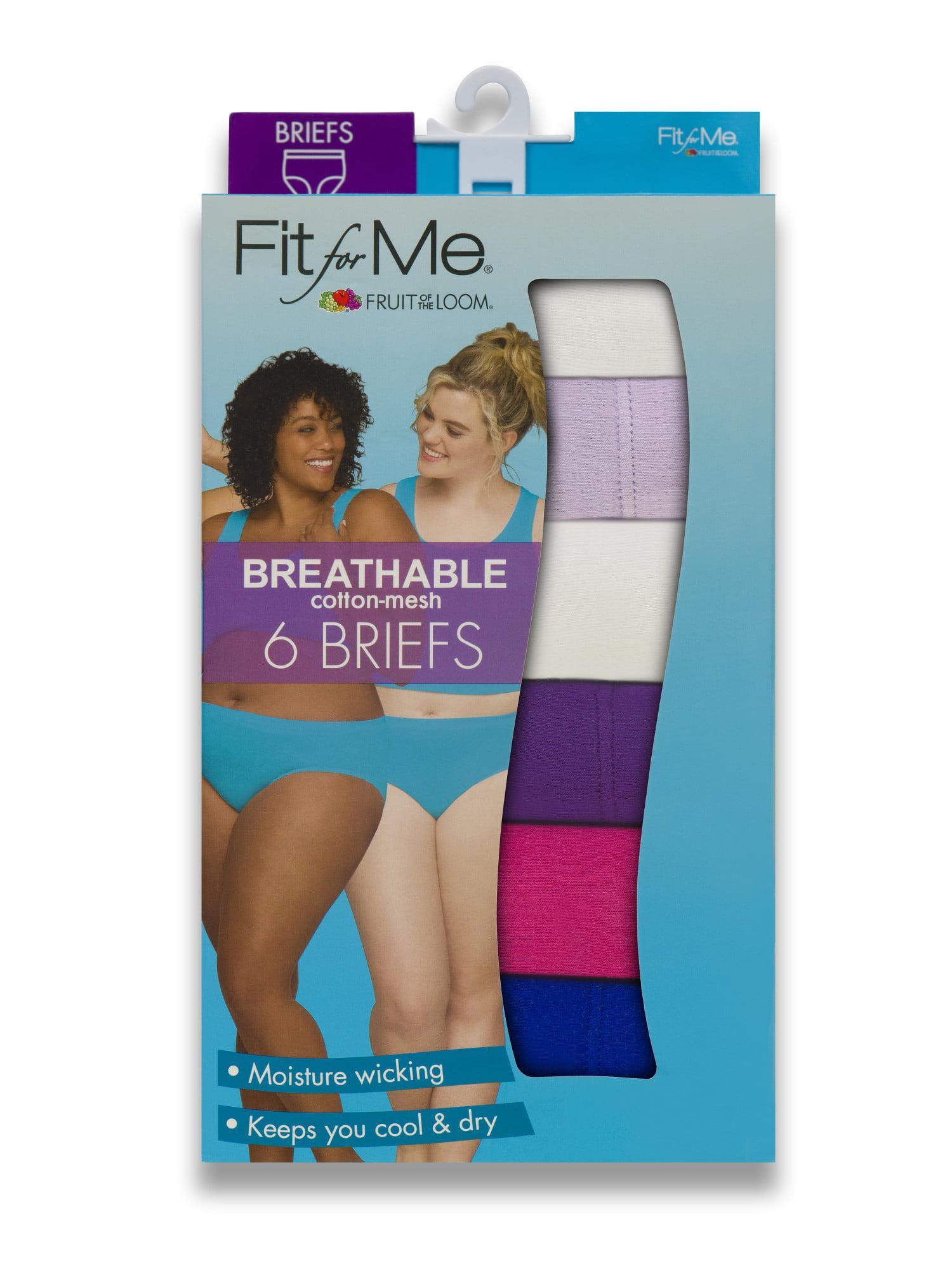 d9e4f7c419c1 Fit for Me by Fruit of the Loom - Women's Plus Breathable Cotton-Mesh Brief  Panties, 6 Pack - Walmart.com