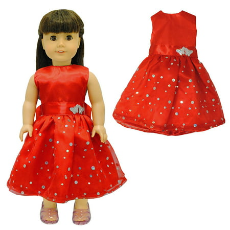 Doll Clothes - Beautiful Red Dress with Dots Outfit Fits American Girl Doll, My Life Doll and 18 inch dolls