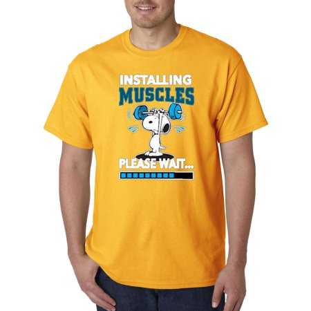 New Way 433 - Unisex T-Shirt Installing Muscles Please Wait Snoopy Peanuts