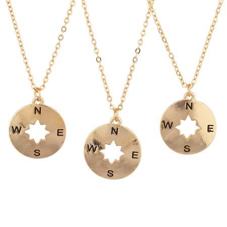 Lux Accessories Gold Tone Compass BFF Best Friend Charm Pendant Necklace Set 3PC