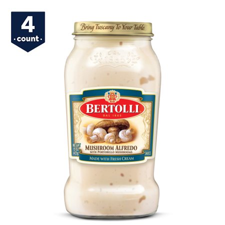 (4 Pack) Bertolli Mushroom Alfredo with Portobello Mushrooms Pasta Sauce 15 oz. Light Mushroom Sauce