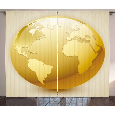 Earth Curtains 2 Panels Set, Vivid Style Earth Icon in Yellow Color World Sphere Global International Theme, Window Drapes for Living Room Bedroom, 108W X 108L Inches, Yellow Beige, by