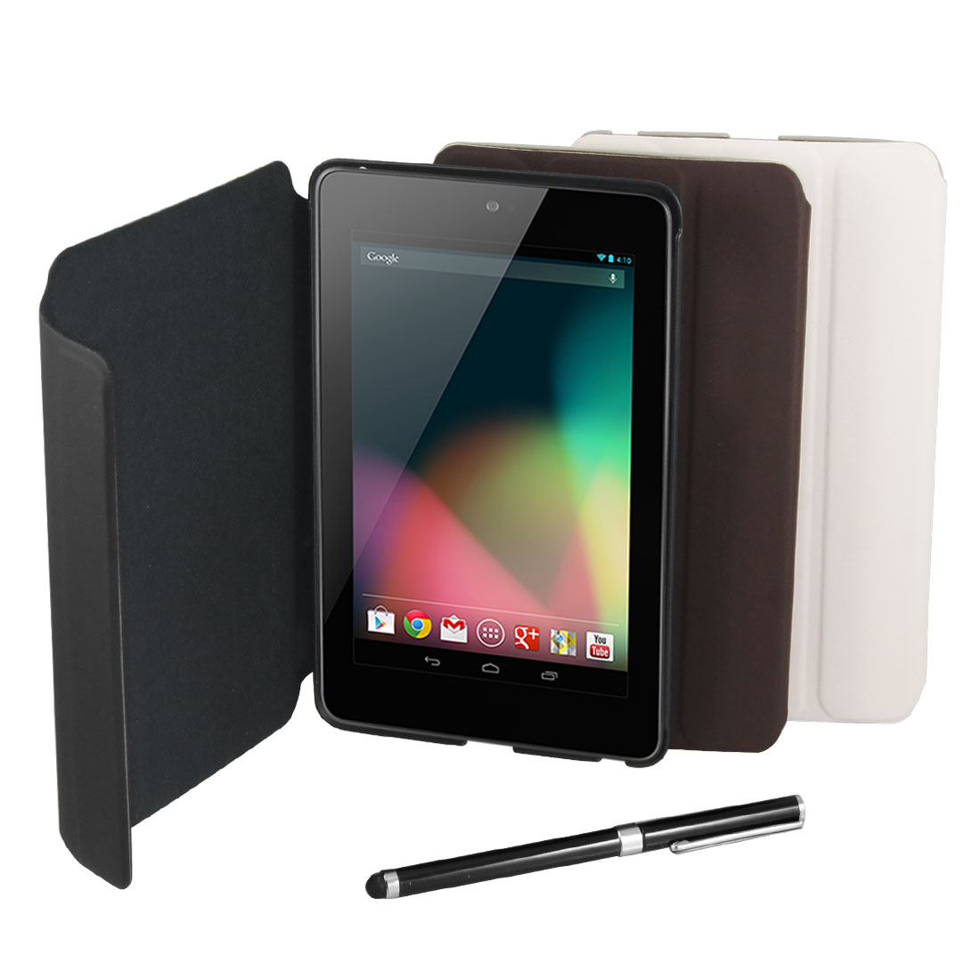 Black Faux Leather Sleeve Case Cover w Stylus for Google Nexus 7 Android Tablet