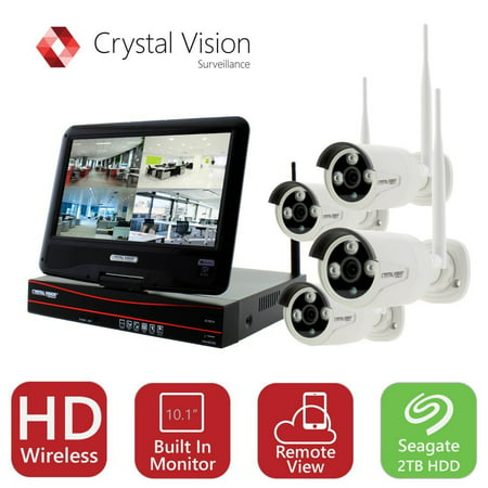 Crystal Vision True HD Wireless Surveillance System 2TB Hard Drive All-in-One NVR CCTV with Built-in Monitor, Router, Camera Auto Pair, Night Vision - CVT9604E-3010W