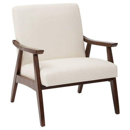 Ave Six Davis Chair  Linen Fabric With Medium Espresso Frame