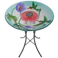 Peaktop - Outdoor 18-Inch Hummingbird Fusion Glass Solar Bird Bath