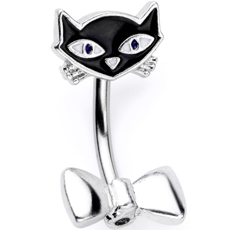 Body Candy 14G 316L Stainless Steel Navel Ring Piercing Black Cat Double Mount Belly Button Ring (Cat Belly Piercing)