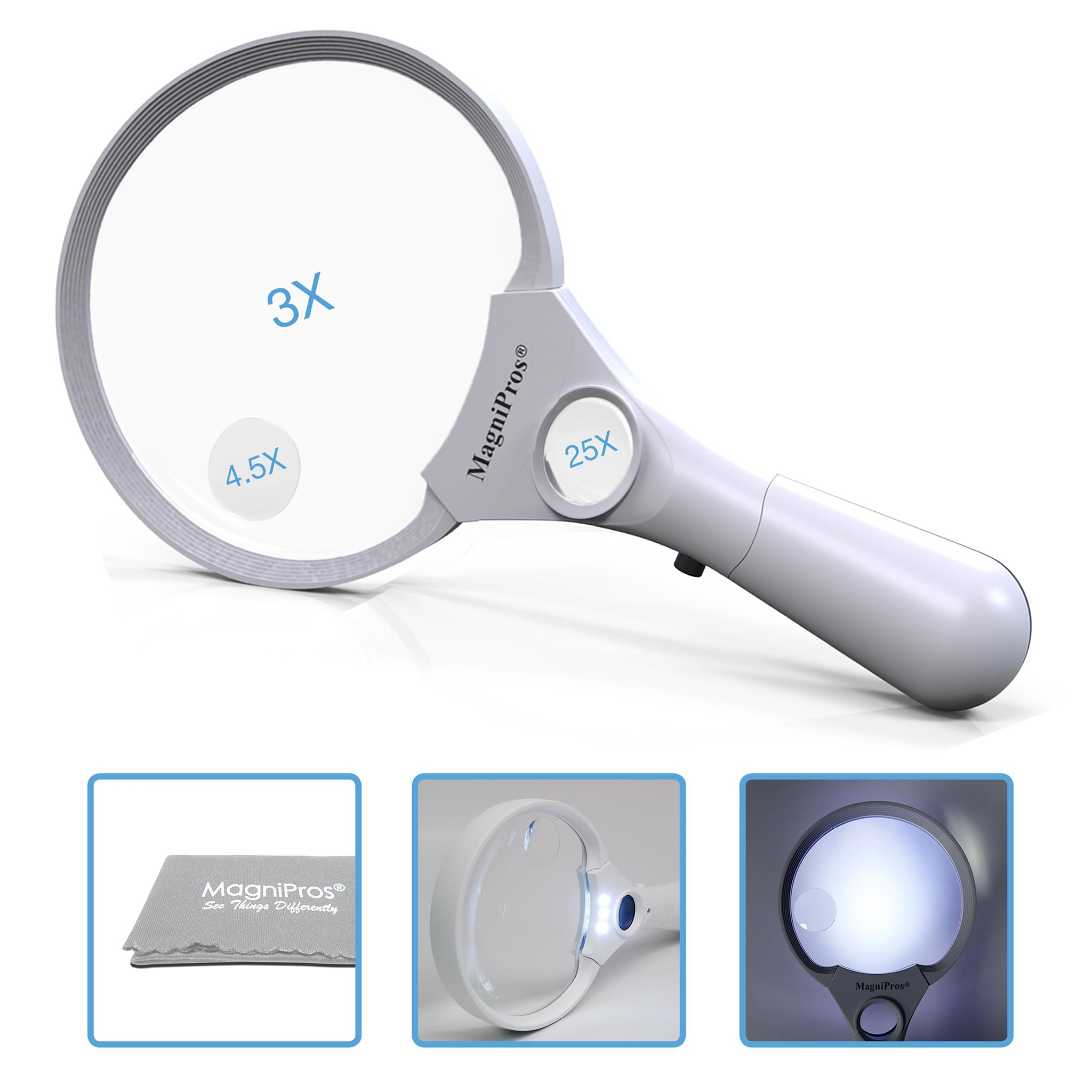 MagniPros 3 Ultra Bright LED Lights 3X 4.5X 25X Power Handheld Reading Magnifying Glass with Light- Ideal for Reading Small Prints, Map, Coins, Inspection and Jewelry Loupe