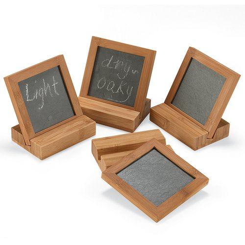 Thompson and Elm Inspirations Bamboo Coaster with Stand (Set of 4)